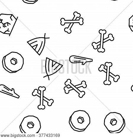 Prehistoric Primitive Vector Seamless Pattern Thin Line Illustration