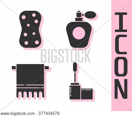 Set Mascara Brush, Sponge With Bubbles, Towel On A Hanger And Perfume Icon. Vector