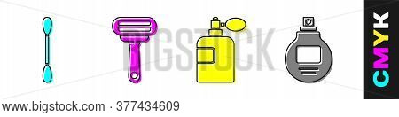 Set Cotton Swab For Ears, Shaving Razor, Perfume And Perfume Icon. Vector