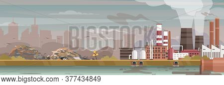 Industry, Manufacture Polluted Landscape Vector Illustration. Cartoon Flat Urban Cityscape, Industri