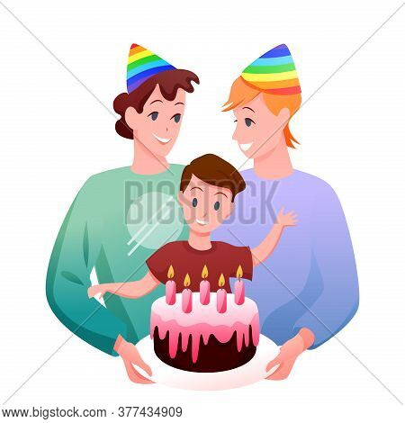 Gay Lgbt Family Celebration Vector Illustration. Cartoon Flat Happy Man Parent Characters, Two Fathe