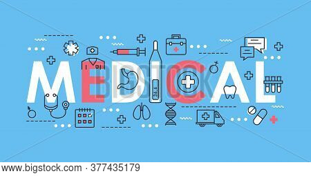 Medical Word Thin Line Vector Illustration. Flat Lineart Concept Web Banner Design With Medicine And