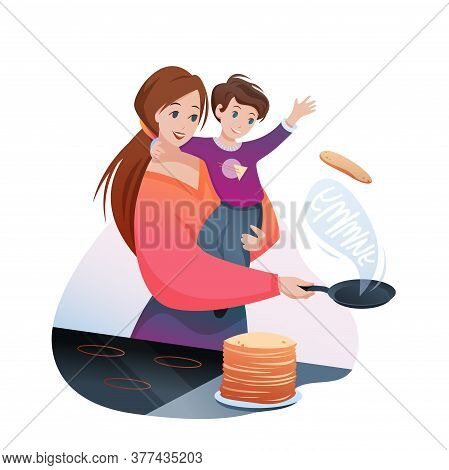 Mother Cooks Family Breakfast Food Vector Illustration. Cartoon Flat Mom Character Cooking Yummy Pan