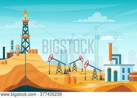 Oil Extraction Landscape Vector Illustration. Cartoon Flat Urban Factory Station Skyline With Well D