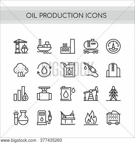 Oil Production Vector Illustration Set. Flat Thin Line Icons With Oilfield Drilling Pump Station, Ta