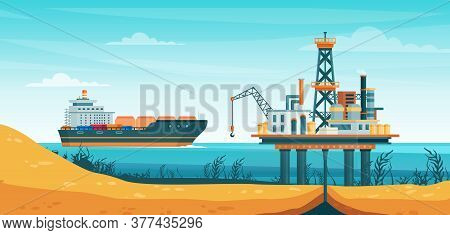 Oil Gas Extraction Vector Illustration. Cartoon Flat Drill Oilfield Technology, Offshore Extracting