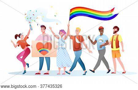 Lgbt Pride Parade Vector Illustration. Cartoon Flat Happy Gays Lesbians Characters Holding Lgbt Rain
