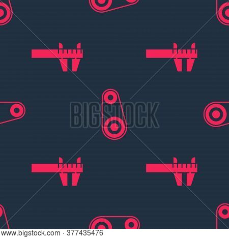 Set Calliper Or Caliper And Scale And Timing Belt Kit On Seamless Pattern. Vector