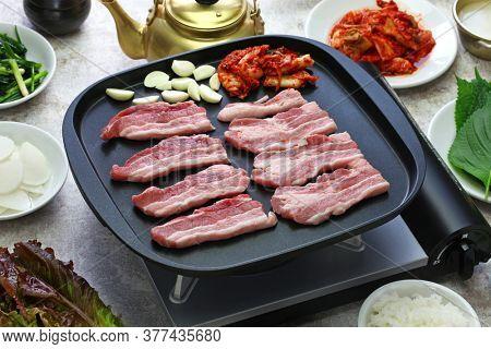 samgyeopsal ( grilled pork belly BBQ ), korean cuisine