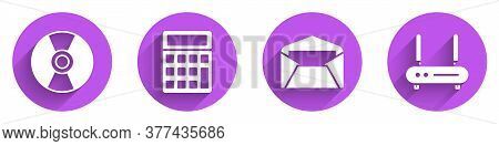 Set Cd Or Dvd Disk, Calculator, Envelope And Router And Wi-fi Signal Icon With Long Shadow. Vector
