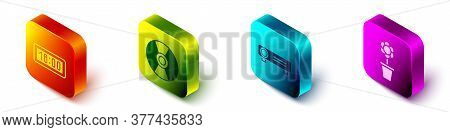 Set Isometric Digital Alarm Clock, Cd Or Dvd Disk, Movie, Film, Media Projector And Flower In Pot Ic