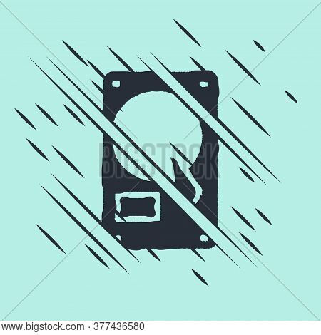 Black Hard Disk Drive Hdd Icon Isolated On Green Background. Glitch Style. Vector Illustration