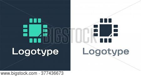 Logotype Computer Processor With Microcircuits Cpu Icon Isolated On White Background. Chip Or Cpu Wi