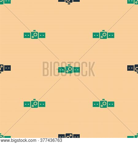 Green And Black Smartwatch Icon Isolated Seamless Pattern On Beige Background. Vector Illustration