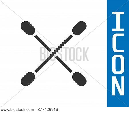 Grey Cotton Swab For Ears Icon Isolated On White Background. Vector Illustration