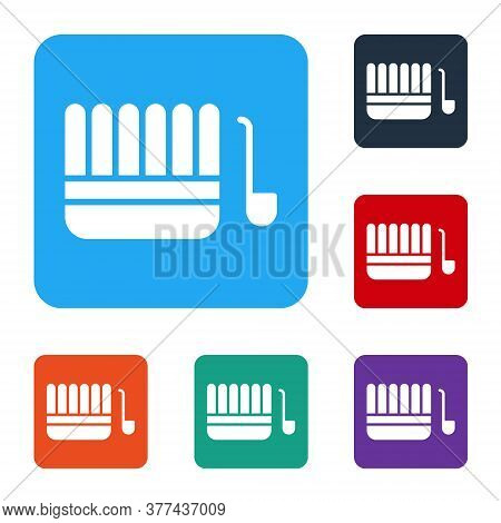 White Sauna Bucket And Ladle Icon Isolated On White Background. Set Icons In Color Square Buttons. V