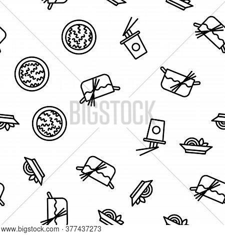 Pasta Dish Gastronomy Vector Seamless Pattern Thin Line Illustration