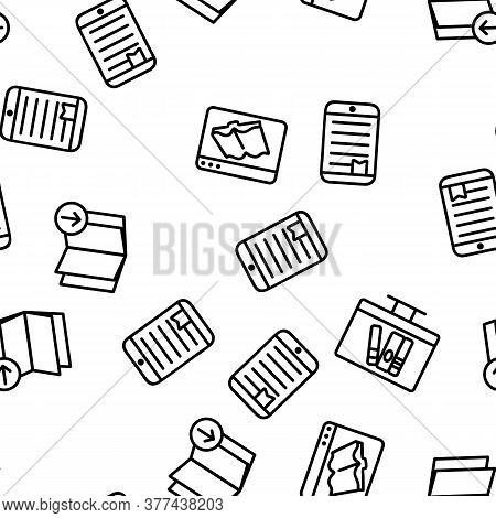 Ebook Electronic Tool Vector Seamless Pattern Thin Line Illustration
