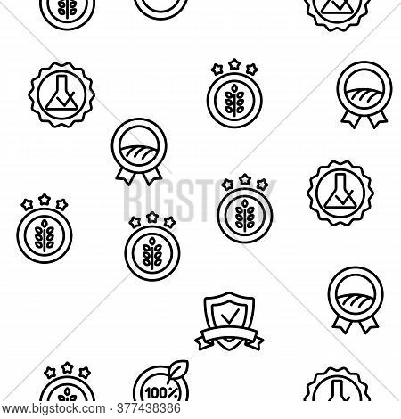 Gmp Certified Mark Vector Seamless Pattern Thin Line Illustration