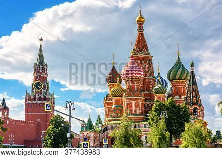 Moscow Kremlin And St Basil`s Cathedral On Red Square, Russia. This Place Is Top Tourist Attraction