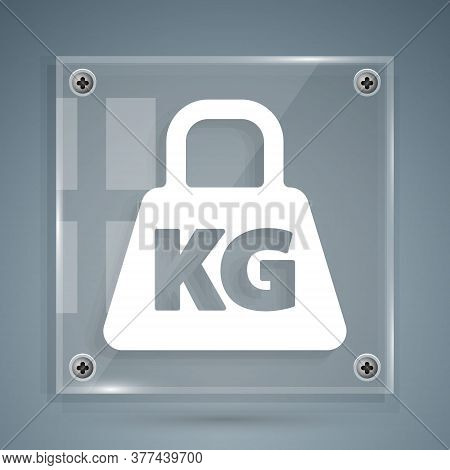 White Weight Icon Isolated On Grey Background. Kilogram Weight Block For Weight Lifting And Scale. M
