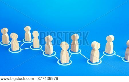 Chain Of Connected People. Cooperation, Collaboration. Communication. Chain Reaction, Spread Of Info