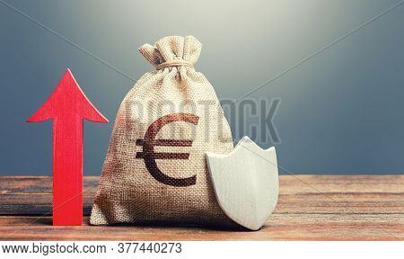 Euro Money Bag With A Shield And A Red Arrow Up. Increasing The Maximum Amount Of Guaranteed Insuran