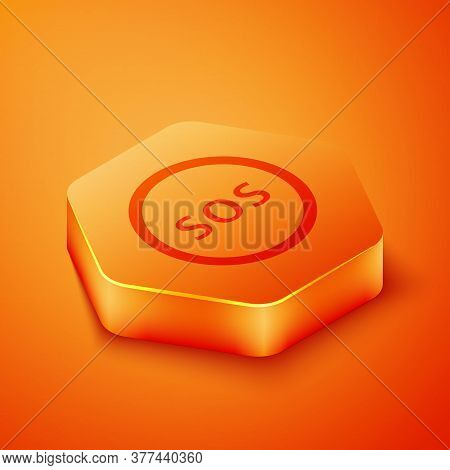 Isometric Location With Sos Icon Isolated On Orange Background. Sos Call Marker. Map Pointer Sign. O
