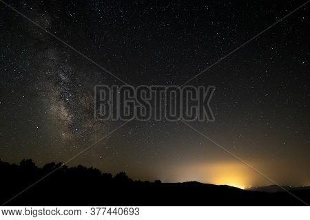 Starry Landscape With The Milky Way From Sierra De Tormantos. Extremadura.