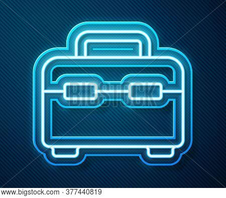 Glowing Neon Line Toolbox Icon Isolated On Blue Background. Tool Box Sign. Vector Illustration