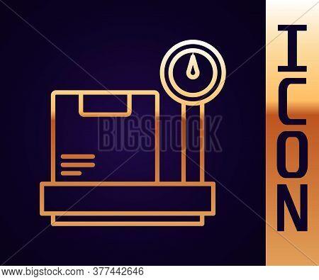 Gold Line Scale With Cardboard Box Icon Isolated On Black Background. Logistic And Delivery. Weight