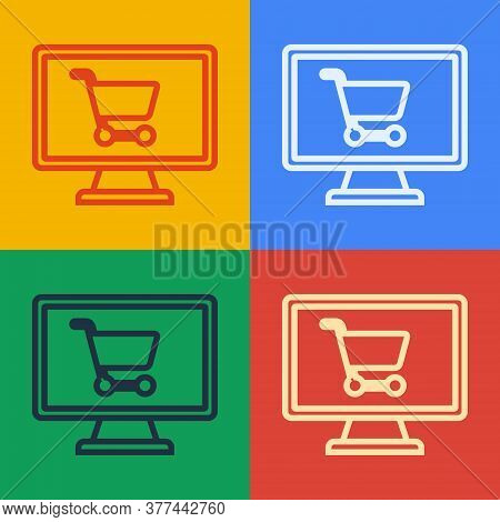 Pop Art Line Shopping Cart On Screen Computer Icon Isolated On Color Background. Concept E-commerce,