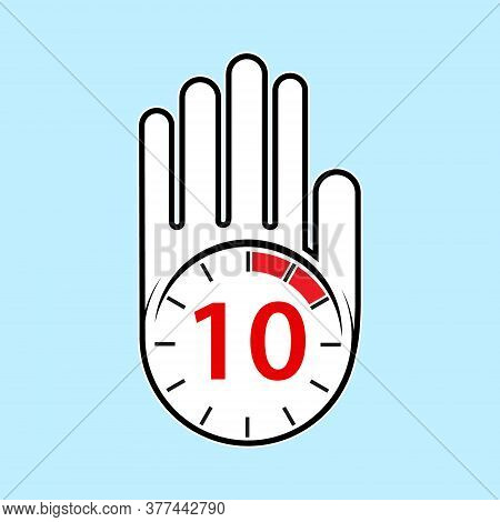 Raised, Open Hand With A Watch On It. Time For Rest Or Break, Pause. 10 Minutes Or Seconds. Flat Des