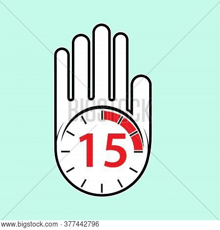 Raised, Open Hand With A Watch On It. Time For Rest Or Break, Pause. 15 Minutes Or Seconds. Flat Des
