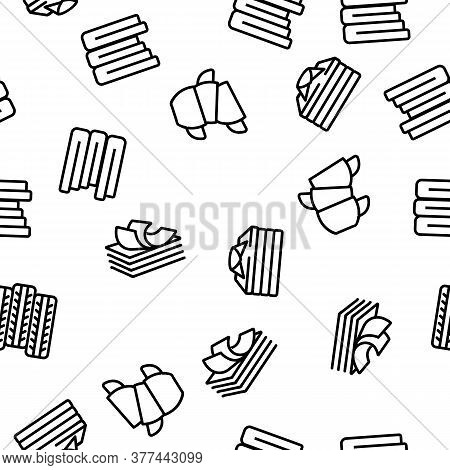 Pile Objects Things Vector Seamless Pattern Thin Line Illustration