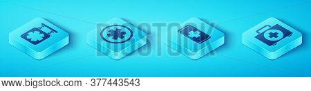 Set Isometric Medical Symbol Of The Emergency, Medical Symbol Of The Emergency, First Aid Kit And Em