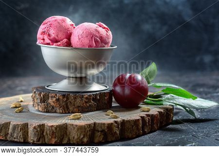 Artisanal Ice Cream Made From Red Plums With Cardamom.