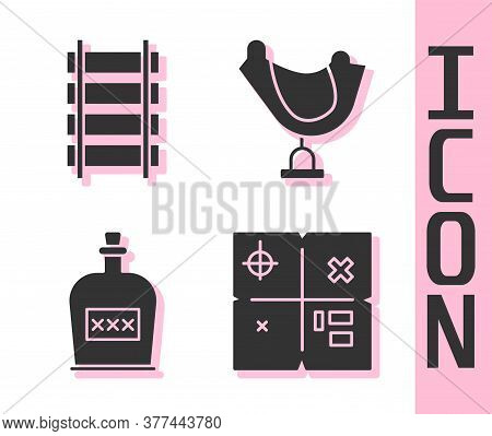 Set Treasure Map, Railway, Railroad Track, Alcohol Drink Rum Bottle And Wild West Saddle Icon. Vecto