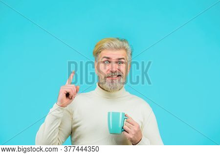 Bearded Man With Cup. Man Drinking Hot Coffee At Cafe. Fashionable Man With Stylish Hair With Cup Or