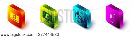 Set Isometric Laptop With Music Note, Musical Note In Speech Bubble, Cd Or Dvd Disk And Audio Jack I