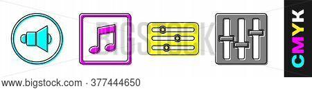 Set Speaker Volume, Music Note, Tone, Sound Mixer Controller And Sound Mixer Controller Icon. Vector