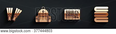 Set Rubber Flippers, Hiking Backpack, Passport With Visa Stamp And Towel Stack Icon With Long Shadow