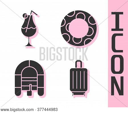 Set Suitcase, Cocktail And Alcohol Drink, Rafting Boat And Rubber Swimming Ring Icon. Vector