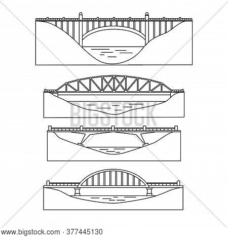 The Image Of Bridges, Architectural Structures. Profile. Set. Linear Design. Vector Illustration. Is