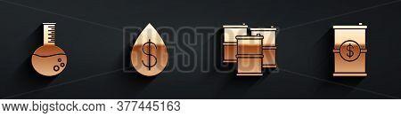 Set Oil Petrol Test Tube, Oil Drop With Dollar, Barrel Oil And Barrel Oil With Dollar Icon With Long