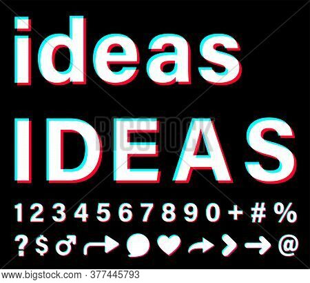 Ideas Sign With Small Letters And Capital Letters. White Words With Blue, Red, Pink Borders On Black