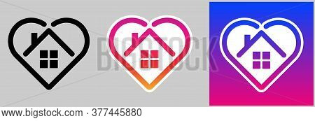 Set Of Stay Home Icons With Heart And House Inside. House Frame With Windows Inside Shape Of Heart I