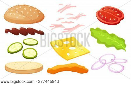 Burger Ingredients Diy Collection. Set Of Isolated Ingredients For Build Your Own Burger And Sandwic
