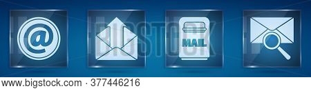 Set Mail And E-mail, Outgoing Mail, Mail Box And Envelope With Magnifying Glass. Square Glass Panels