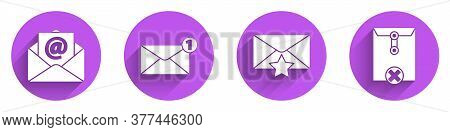 Set Mail And E-mail, Envelope, Envelope With Star And Delete Envelope Icon With Long Shadow. Vector